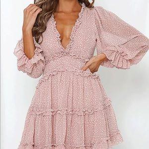 Pink deep v dress